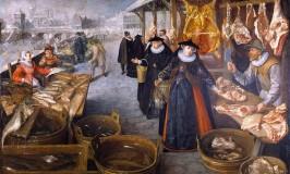 Lucas-van-Valckenborch-Flemish-Renaissance-painter-landscape-painting-market-winter