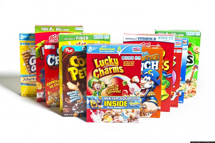 Various types of cereal boxes are photographed before a taste test at AOL Huffington Post headquarters in New York on Thursday Sept. 27, 2012. (Damon Dahlen, AOL)