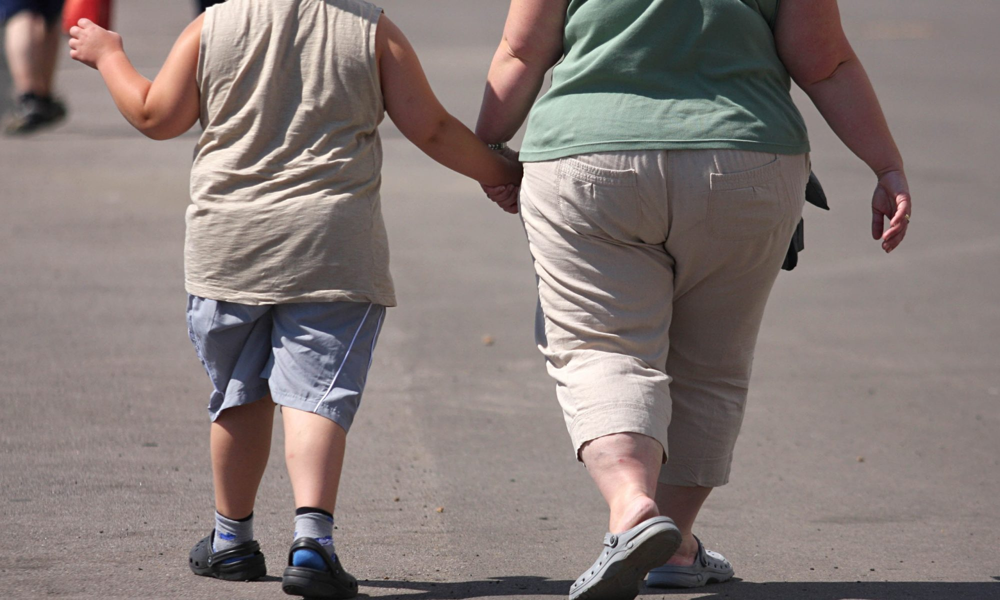 An overweight child and mother.