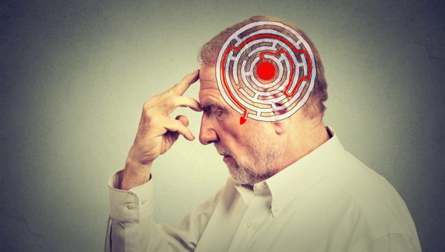 Side profile elderly man solving problem thinking isolated on gray wall background. Human face expression. Decision wisdom strategy concept. Emotional intelligence
