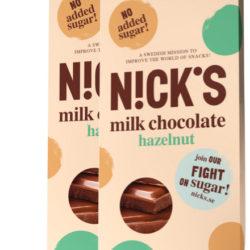 Молочный шоколад NICK'S со стевией, с орехами 20 шт.
